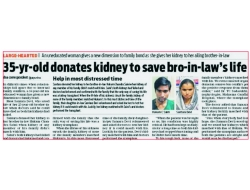 35-yr-old donates kidney to save bro-in-low's life